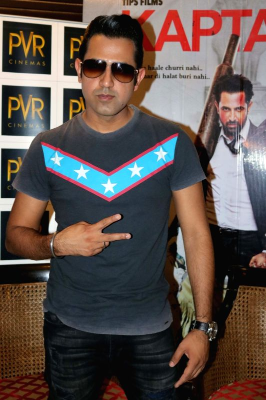 """Actor Gippy Grewal during a press conference to promote their upcoming film """"Kaptaan"""" in New Delhi on May 14, 2016. - Gippy Grewal"""