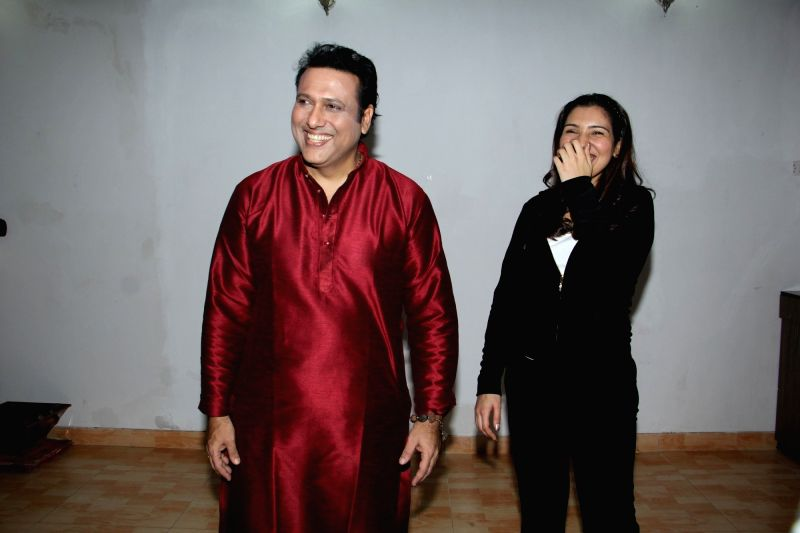 Actor Govinda and his daughter Tina Ahuja during the photo shoot in Mumbai on Nov 23, 2015.