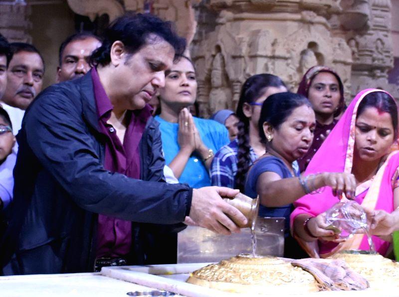 Actor Govinda offers prayers at Somnath temple in Saurashtra of Gujarat on May 8, 2017. - Govinda