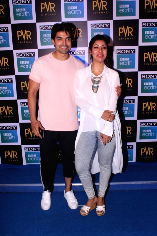 "Actor Gurmeet Choudhary along with his wife Debina Bonnerjee at the screening of Sony BBC Earth's film ""Blue Planet II: One Ocean & The Deep"" in Mumbai on May 15, 2018. - Gurmeet Choudhary and Debina Bonnerjee"