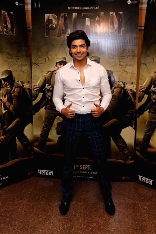 "Actor Gurmeet Choudhary during the promotion of his upcoming film ""Paltan"" in Mumbai on Aug 10, 2018. - Gurmeet Choudhary"