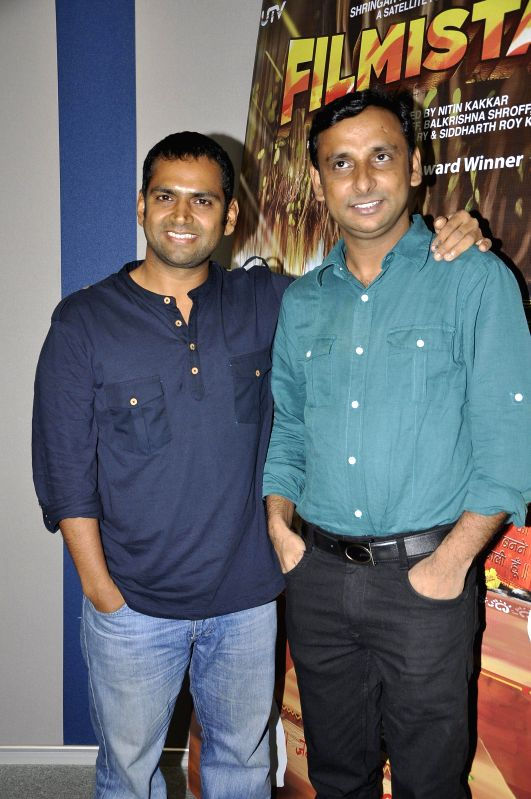 Actor Inam and Sharib Hashmi during the launch of a new app Main Filmistani for the national award winning film Filmistan in Mumbai on April 28, 2014. - Inam