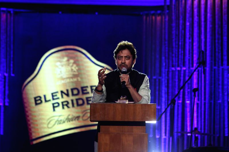 Actor Irfan Khan addressing during Blenders Pride Fashion Tour 2014 event in Kolkata on Dec 13, 2014.