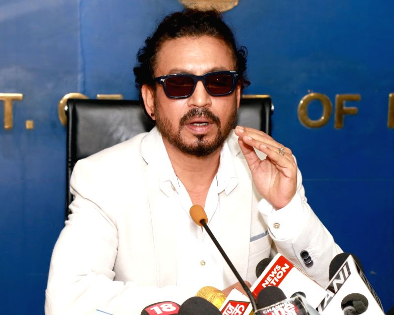 Actor Irrfan Khan addresses a press conference after meeting with Delhi Chief Minister Arvind Kejriwal at Delhi Secretariat, in New Delhi on July 19,2016. - Irrfan Khan and Arvind Kejriwal