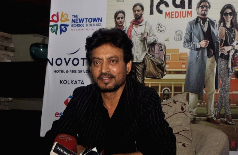 "Actor Irrfan Khan addresses a press conference to promote his film upcoming ""Hindi Medium"" in Kolkata on May 10, 2017. - Irrfan Khan"
