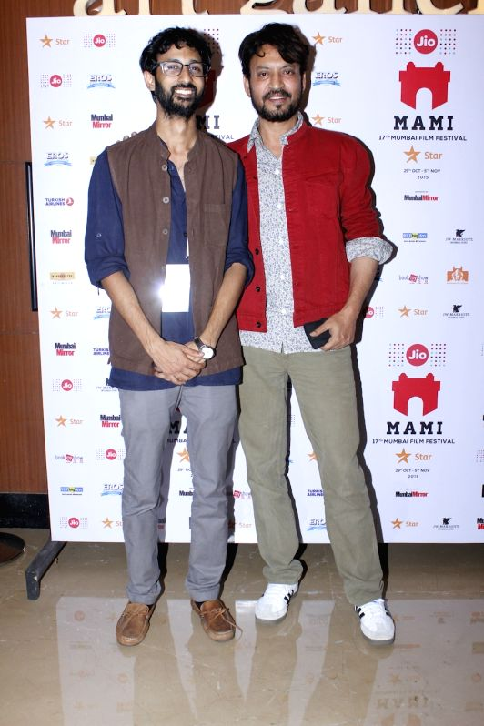 Actor Irrfan Khan and Filmmaker Raam Reddy, during the premier of Kannada feature film Thithi, at MAMI Festival, in Mumbai, on Oct 31, 2015. - Irrfan Khan and Raam Reddy