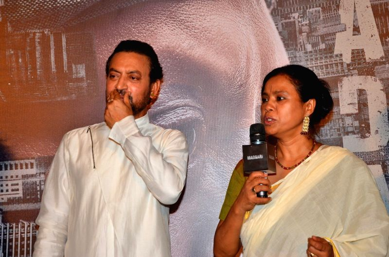 Actor Irrfan Khan and his wife Sutapa Sikdar during the trailer launch of film Madaari in Mumbai on May 11, 2016. - Irrfan Khan