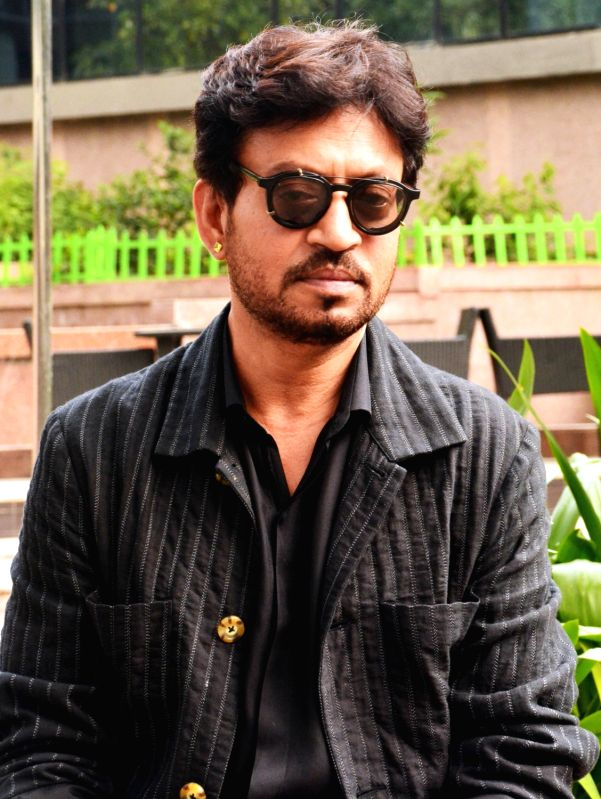 "Actor Irrfan Khan during a program organised to promote his upcoming film ""Hindi Medium"" in Kolkata on May 10, 2017. - Irrfan Khan"