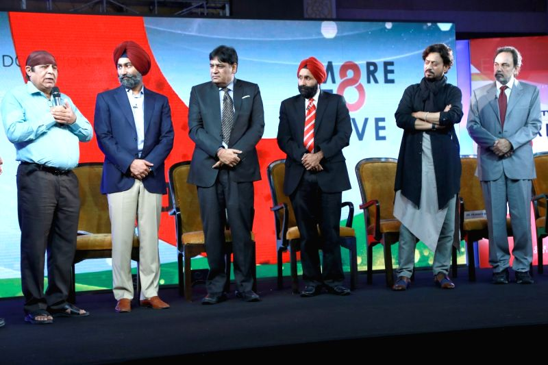 Actor Irrfan Khan during the launch of the 'More To Give' campaign on the occasion of Kargil Diwas in New Delhi on July 26, 2016. Also seen NDTV Group CEO Vikram Chandra, Co-Chairperson ... - Irrfan Khan, Prannoy Roy, Malvinder Mohan Singh and Bhavdeep Singh