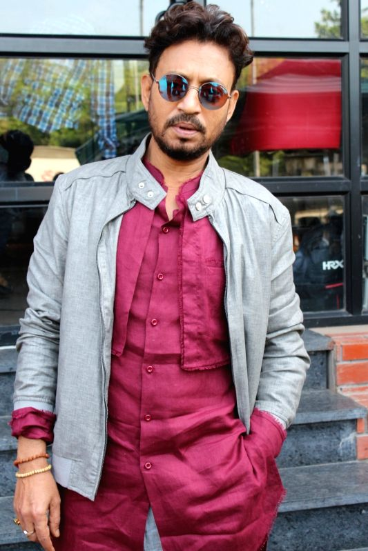 "Actor Irrfan Khan during the promotion of his upcoming film ""Qarib Qarib Singlle"" in Mumbai on Oct 25, 2017 ."