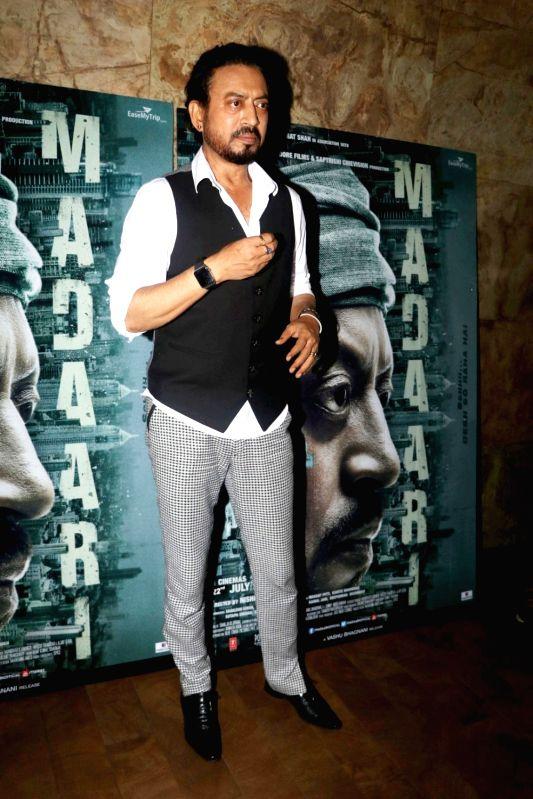 Actor Irrfan Khan during the screening of film Madaari in Mumbai, on July 21, 2016. - Irrfan Khan