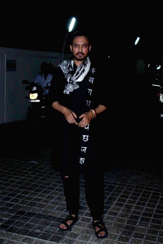 Actor Irrfan Khan during the screening of film Hindi Medium in Mumbai on May 18, 2017. - Irrfan Khan