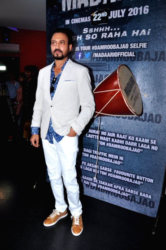 Actor Irrfan Khan during the special screening of film Madaari, in Mumbai on July 17, 2016. - Irrfan Khan