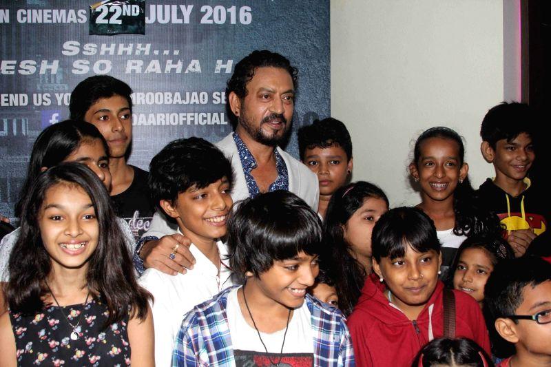 Actor Irrfan Khan during the special screening of film Madaari, in Mumbai, on July 17, 2016. - Irrfan Khan