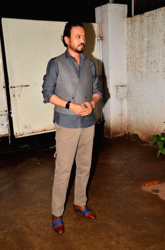 Actor Irrfan Khan during the special screening of the film Madaari, in Mumbai on July 19, 2016. - Irrfan Khan