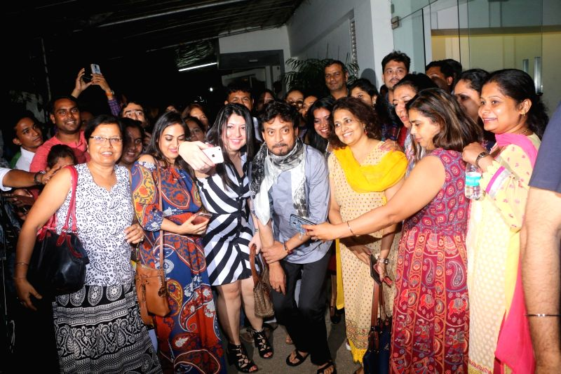 Actor Irrfan Khan with Hindi teachers during the special screening of film Hindi Medium in Mumbai, on May 15, 2017. - Irrfan Khan