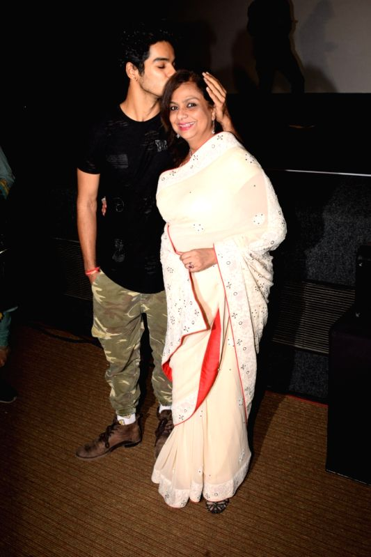 "Actor Ishaan Khatter along with his mother Neelima Azeem at the trailer launch of his upcoming film ""Beyond the Clouds"" in Mumbai on Jan 29, 2018. - Ishaan Khatter"