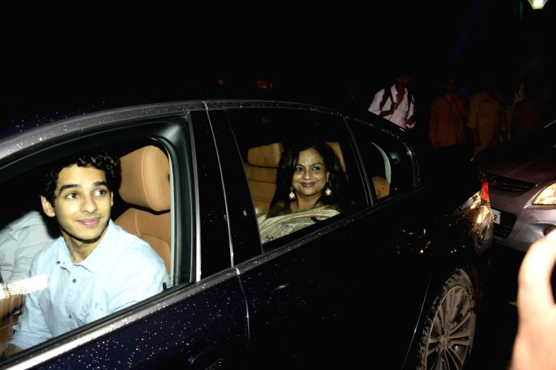 """Actor Ishaan Khatter along with his mother Neelima Azeem at the special screening of upcoming film """"Dhadak"""" in Mumbai on July 18, 2018. - Ishaan Khatter"""