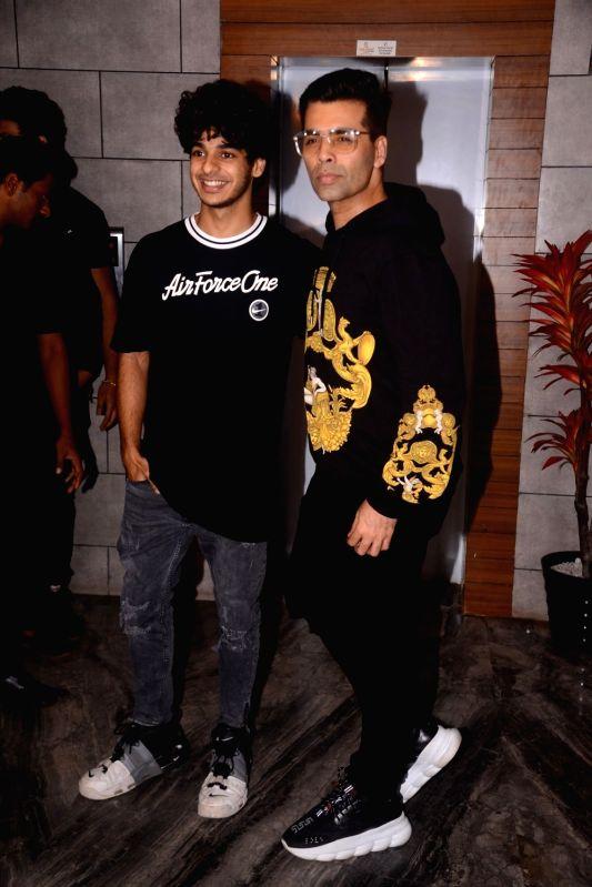 "Actor Ishaan Khatter and filmmaker Karan Johar during the success party of their film ""Dhadak"" in Mumbai on Aug 9, 2018. - Ishaan Khatter and Karan Johar"