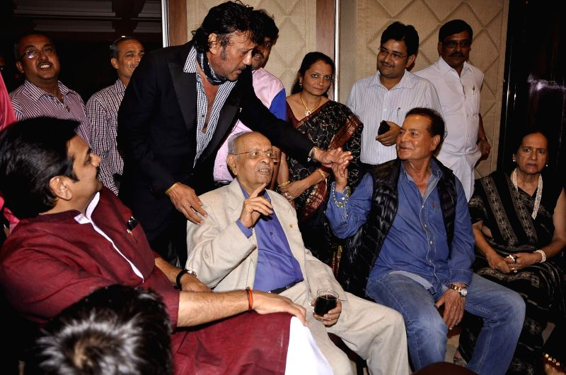 Actor Jackie Shroff and screenwriter Salim Khan during 81st birthday celebrations of Nana Chudasama, World Chairman, Giants International in Mumbai in Mumbai on June 17, 2014. - Jackie Shroff and Khan