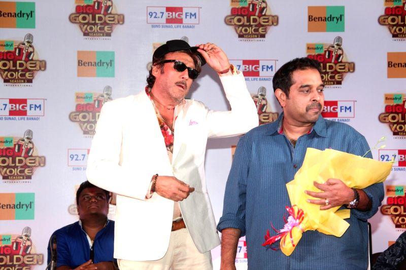 Actor Jackie Shroff and singer Shankar Mahadevan during the press conference of 92.7 BIG FM 14 national finalists of Benadryl BIG Golden Voice Season 3 in Mumbai, on August 6, 2015. - Jackie Shroff