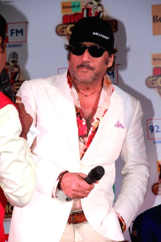 Actor Jackie Shroff during the press conference of 92.7 BIG FM 14 national finalists of Benadryl BIG Golden Voice Season 3 in Mumbai, on August 6, 2015. - Jackie Shroff