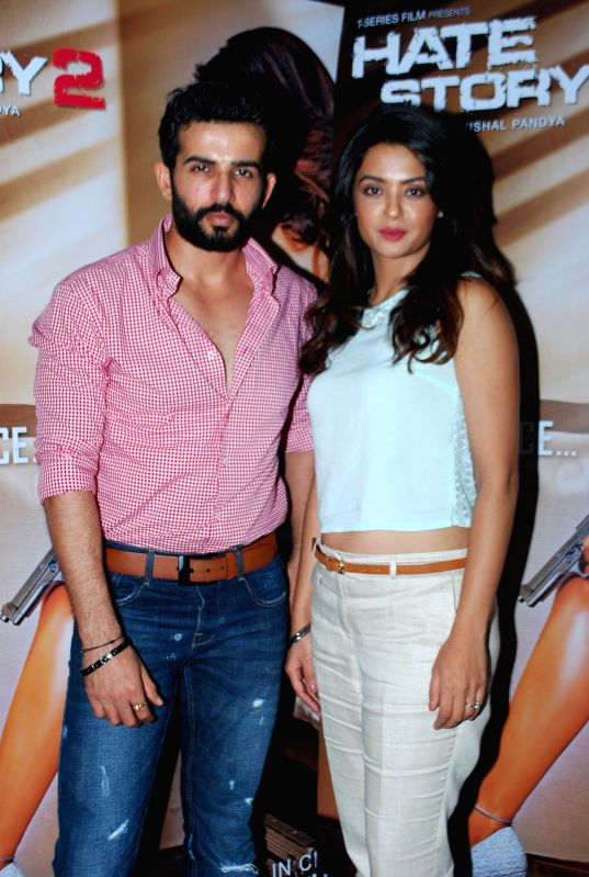 Actor Jay Bhanushali and Surveen Chawla during a media interaction of her upcoming film Hate Story 2 in Mumbai  on 5th July 2014 - Jay Bhanushali