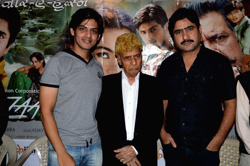 Actor Jeet Goshwami , Music director Khayyam Sahab and Actor Yashpal Sharma during a press meet of film Bazaar-E-Husn based on Munshi Premchandji's Urdu novel in Mumbai on July 11, 2014. - Jeet Goshwami and Yashpal Sharma