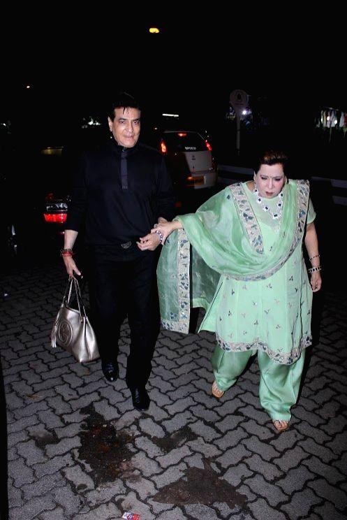 Actor Jeetendra along with his wife Shobha Kapoor at Ekta Kapoor`s birthday bash, in Mumbai on June 7, 2017. - Jeetendra, Shobha Kapoor and Ekta Kapoor