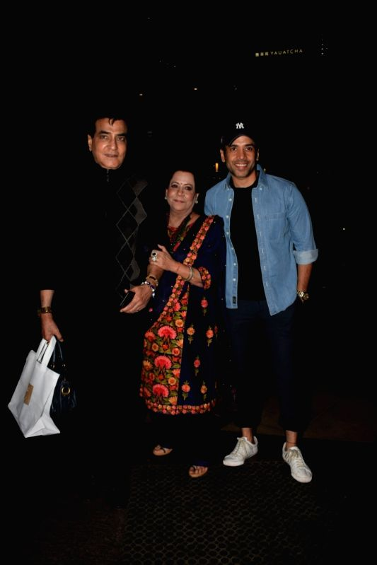 Actor Jeetendra along with his wife Shobha Kapoor and son Tusshar Kapoor at Ekta Kapoor's birthday celebration in Mumbai on June 7, 2018. - Jeetendra, Shobha Kapoor, Tusshar Kapoor and Ekta Kapoor