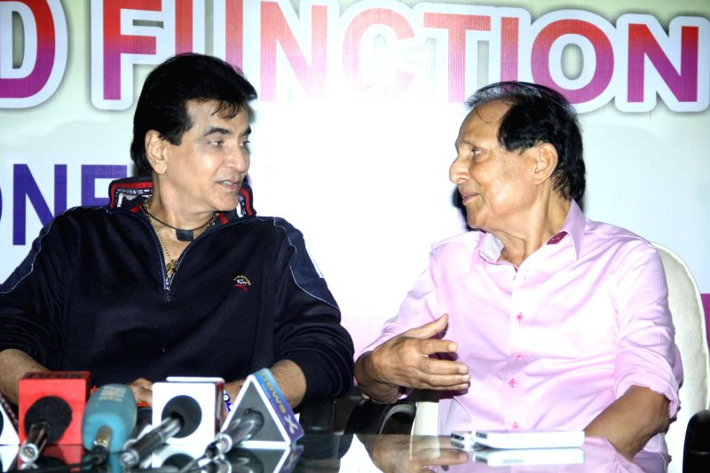 Actor Jeetendra and filmmaker Sawan Kumar Tak during Dadasaheb Phalke Academy Awards press meet in Mumbai on Monday, April 28, 2014. - Jeetendra and Kumar Tak
