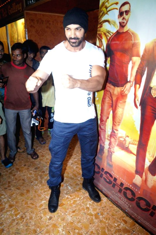 Actor John Abraham arrives at Gaiety Galaxy theatre to promote his film Dishoom, in Mumbai, on July 31, 2016. - John Abraham
