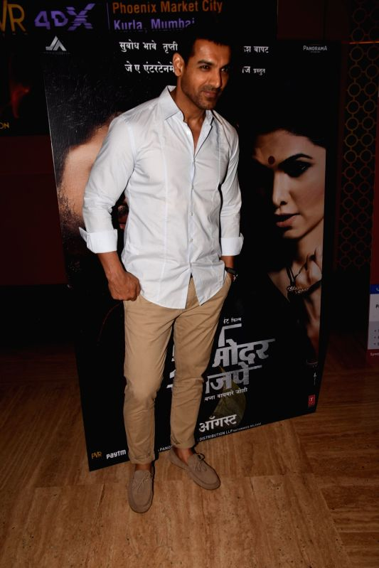 "Actor John Abraham at the special screening of marathi film ""Chumbak"" in Mumbai on July 25, 2018. - John Abraham"
