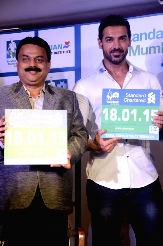 Actor John Abraham during a press conference to announce Mumbai Marathon 2015 in Mumbai on July 22, 2014.