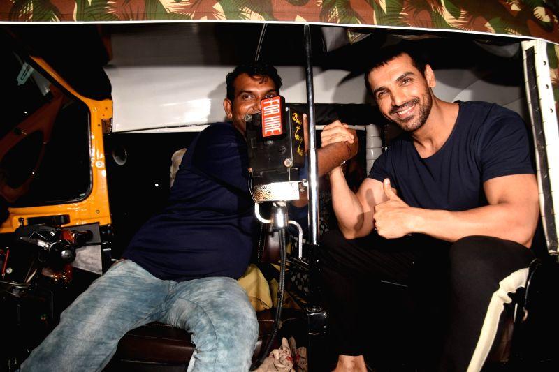 """Actor John Abraham during the screening of his upcoming film """"Satyamev Jayate"""" in Mumbai on Aug 11, 2018. - John Abraham"""