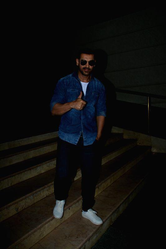Actor John Abraham seen at a radio station in Bandra, Mumbai on July 13, 2018. - John Abraham