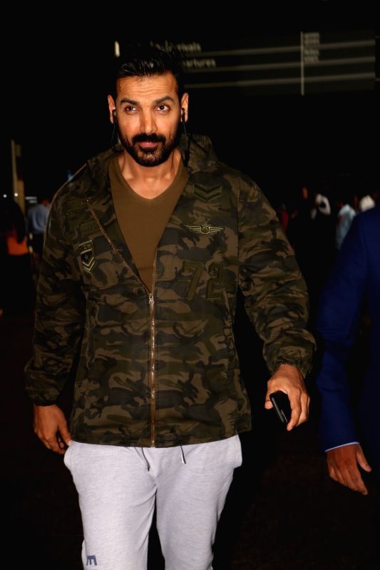 Actor John Abraham spotted at Chhatrapati Shivaji Maharaj International Airport in Mumbai on June 9, 2017. - John Abraham