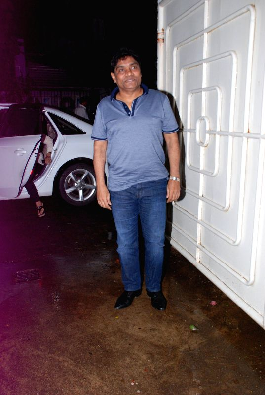Actor Johnny Lever during the screening of the film Entertainment in Mumbai on Aug 6, 2014. - Johnny Lever