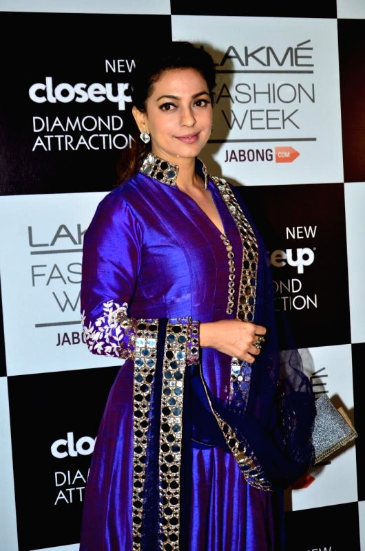 Actor Juhi Chawla during the Grand Finale day of Lakme Fashion Week (LFW) Winter/ Festive 2014, in Mumbai, on Aug. 24, 2014. - Juhi Chawla