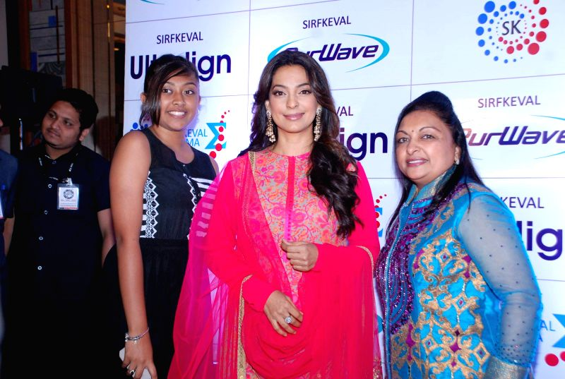 Actor Juhi Chawla during the launch of beauty care system `Purwave` in Mumbai, on Aug 29, 2014.