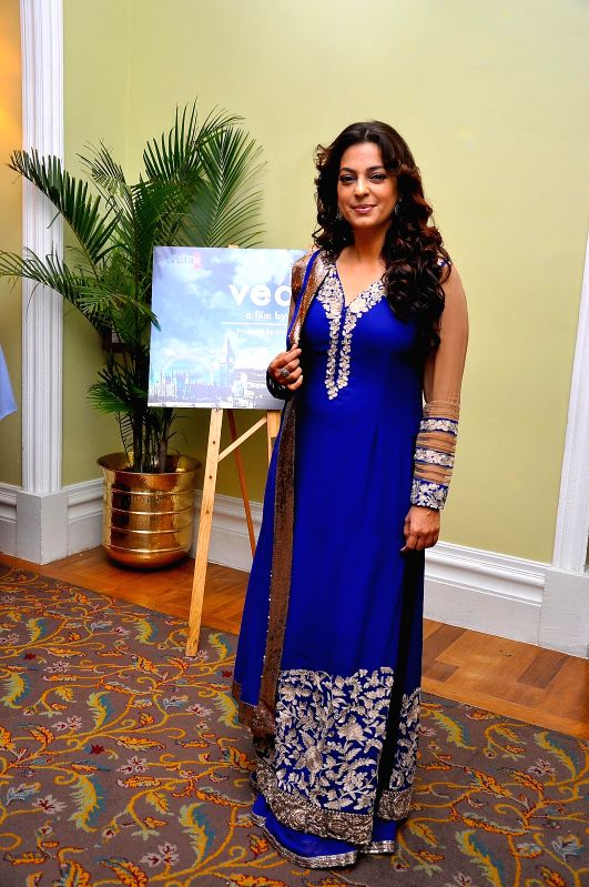 Actor Juhi Chawla during the muhurat of Vistaar Film Fund`s and WSG Picture latest film Veda, in Mumbai, on Aug. 26, 2014. - Juhi Chawla