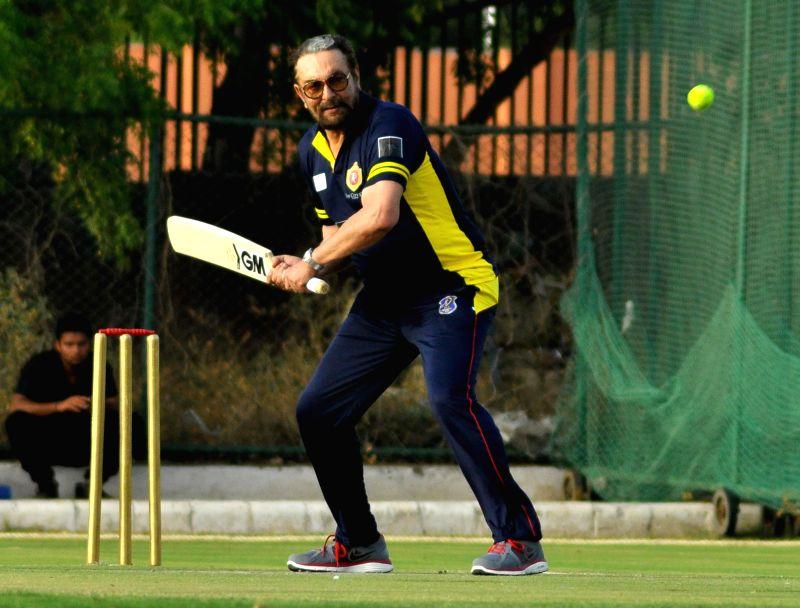 Actor Kabir Bedi in action during Celebrity Cup at Sawai Mansingh Stadium in Jaipur on June 22, 2014.