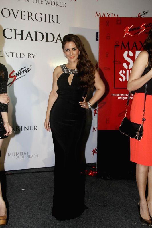 Actor Kainaat Arora during the cover launch of Maxim magazine for the September issue in Mumbai on Aug 25, 2014. - Kainaat Arora