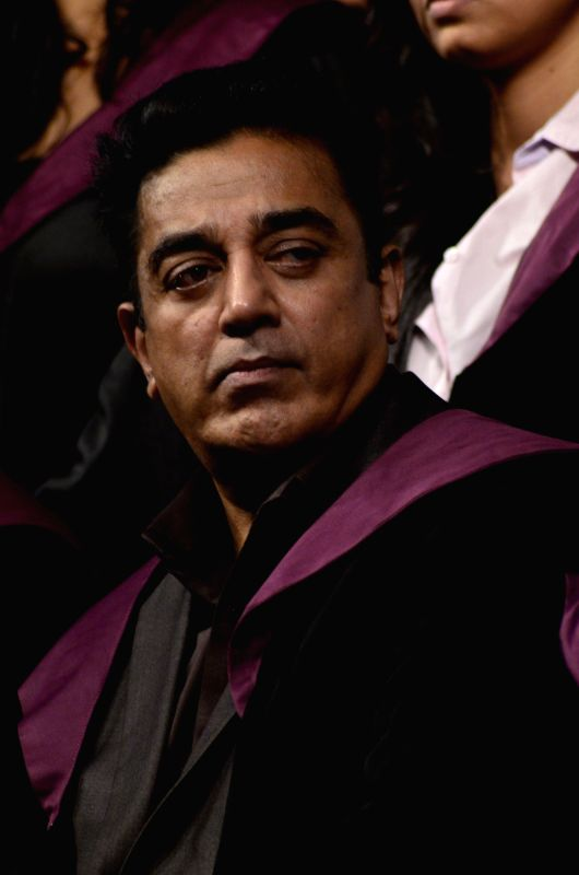 Actor Kamal Hassan during Whistling Woods International's 7th Annual convocation in Mumbai on July 18, 2014. - Kamal Hassan