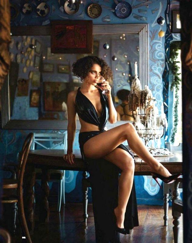 Actor Kangana Ranaut during the hot lingerie photo shoot  in Mumbai on May 15, 2014.