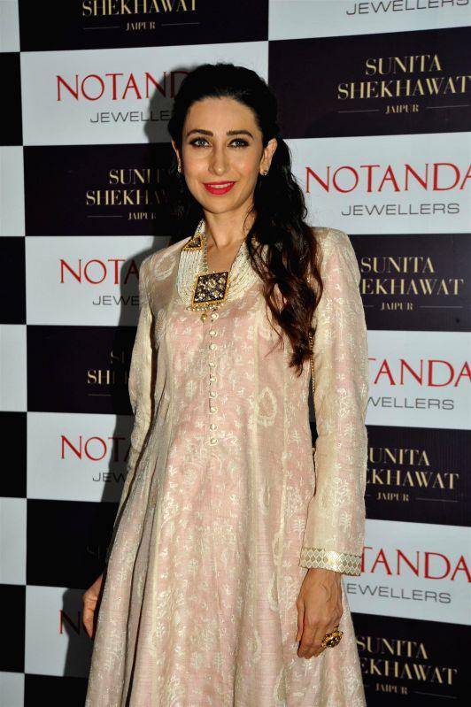 Actor Karishma Kapoor during the launch of Sunita Shekhawat`s Jewellery by Notandas Jewellers in Mumbai, on Nov 27, 2014.