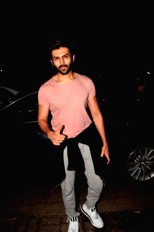 Actor Kartik Aaryan seen at a gym in Juhu, Mumbai on July 19, 2018. - Kartik Aaryan