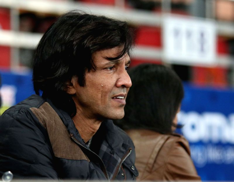 Actor Kay Kay Menon during an IPTL match between UAE Royals and Legendari Japan Warriors at Indira Gandhi Stadium in New Delhi. - Indira Gandhi Stadium