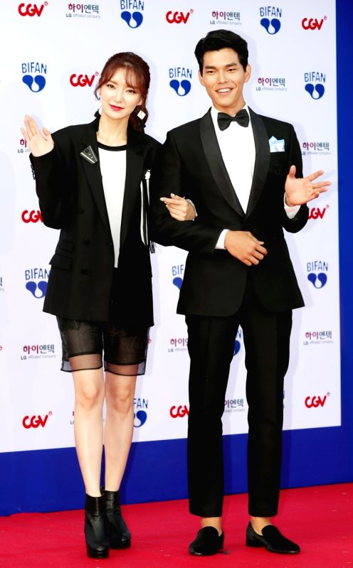 Actor Kim Seung-su (R) and actress Haneul attend the opening ceremony of the Bucheon International Fantastic Film Festival (BIFAN) at Bucheon City Hall in Bucheon, Gyeonggi Province, on July ... - Kim Seung