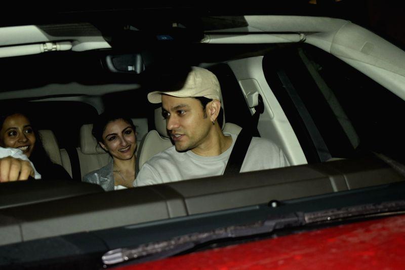 "Actor Kunal Khemu along with his wife Soha Ali Khan at the special screening of upcoming film ""Dhadak"" in Mumbai on July 18, 2018. - Kunal Khemu and Soha Ali Khan"